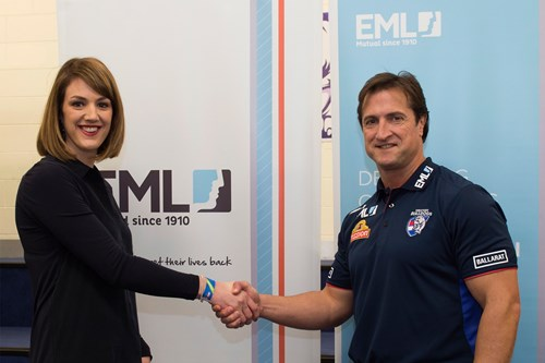 Lauren Christiansen, State Relationship Manager Victoria with Western Bulldogs coach, Luke Beveridge