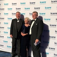 Mark Pittman (last year's winner from Allianz) Michele Casci (EML) with John Nagle (CEO & MD icare)